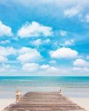 Träbrygga på den rena stranden Fotografering för Bildbyråer
