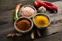 Träbunke, varma kryddor Arkivbild