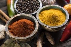 Träbunke, varma kryddor Arkivfoto