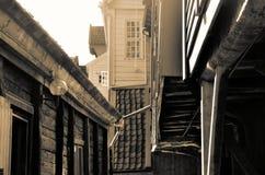 Träbyggnader i Bryggen, Norge Royaltyfria Bilder