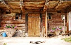 Trädörr för Friulian lantgårdbyggnad Fotografering för Bildbyråer
