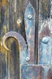 Trädörr med dekorativa rostade metallgångjärn royaltyfria foton