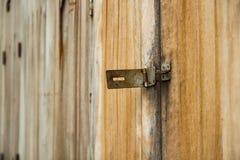 Trädörren och låser royaltyfria foton