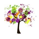 Träd av färgstänk stock illustrationer