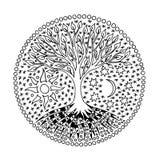 Träd av liv i cirkeln mandala Sun och moon andligt symbol royaltyfri illustrationer