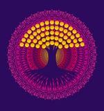 Träd av liv på en bakgrund av en purpurfärgad mandala med gula sidor vektor stock illustrationer