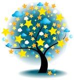 Träd av stjärnor (vektorn) royaltyfri illustrationer