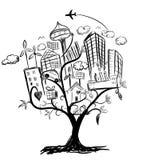 Träd av teckningen för stadslivillustrationblyertspenna Royaltyfria Bilder