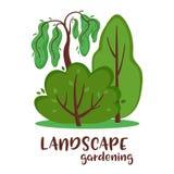 Träd, buske och handskriven inskriftträdgårdsarkitektur arkivfoto