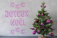 Träd cementvägg, text Joyeux Noel Means Merry Christmas Arkivbild