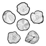 Träd-cirklar vektoruppsättning vektor illustrationer