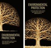 Träd ek med vridna filialer Natur floror royaltyfri illustrationer