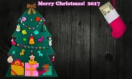 Träd för Ð-¡ hristmas Kort för hälsningjulrosa färger Royaltyfri Fotografi