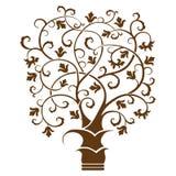 Träd för abstrakt konst, svart på vit bakgrund royaltyfri illustrationer