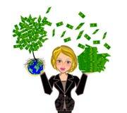 Träd för affärskvinna och pengar Arkivfoto