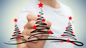 Träd för affärsmanteckningsjul skissar Fotografering för Bildbyråer