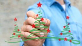 Träd för affärsmanteckningsjul skissar Royaltyfri Bild