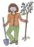 Träd för Eco flickauppsättning Royaltyfria Bilder