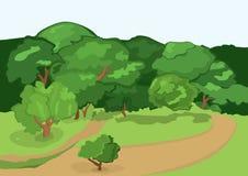 Träd för för tecknad filmbyväg och gräsplan Arkivfoton