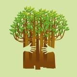 Träd för gräsplan för begrepp för Eco vänligt handkram Miljömässigt vän Arkivbilder
