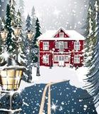 Träd för gran för bakgrund för röd husvinter snöig Väg till skogvektorillustrationerna stock illustrationer