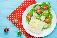 Träd för hristmas för ¡ för grönsaksalladostsmörgås Ð Royaltyfri Bild