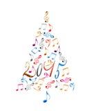 träd för 2015 jul med musikaliska anmärkningar för färgrik metall Arkivbild