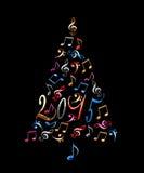 träd för 2015 jul med musikaliska anmärkningar för färgrik metall Arkivfoton