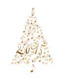 träd för 2015 jul med musikaliska anmärkningar för guld- metall Arkivbild