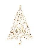 träd för 2016 jul med musikaliska anmärkningar för guld- metall som isoleras på vit arkivfoton