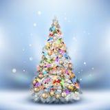Träd för julfrostgran på ljus - blått 10 eps Arkivbild