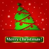 Träd för julorigamigarnering. Vektorillustra Arkivbild