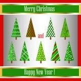 Träd för julorigamigarnering. Vektorillustra Royaltyfria Bilder