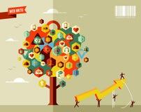 Träd för marknadsföringsaffärssymbol Arkivbild