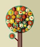 Träd för nätverk för färgrik symbolslägenhet socialt Arkivfoto
