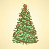 Träd för nytt år med bollar Royaltyfri Fotografi