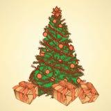Träd för nytt år med gåvor Fotografering för Bildbyråer