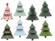 träd för 8 olikt jul med modellen som isoleras på vit fotografering för bildbyråer