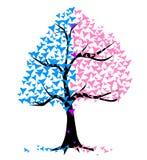 Träd för pojkeflickahjärtor vektor illustrationer