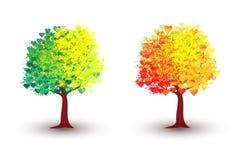 Träd för sommar och höst Arkivfoto