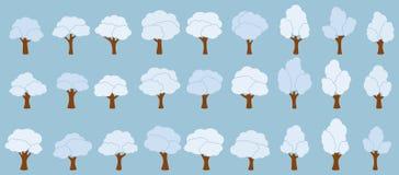 Träd för tecknad filmträdgårdvit stock illustrationer