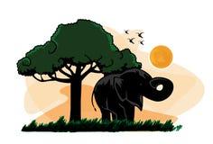 Träd för vektorelefantsolnedgång Royaltyfri Illustrationer