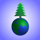 Träd för vektorillustrationgran på jord Royaltyfri Illustrationer