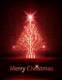 Träd för vektorteknologijul Royaltyfria Bilder