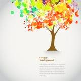 Träd för vektorvattenfärghöst med sprutmålningsfärg höstligt tema Arkivfoto