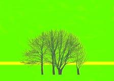 Träd i den gröna bakgrunden Arkivbild