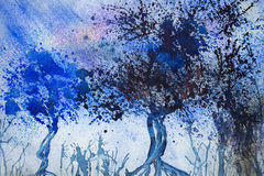 Träd i den regniga natten Royaltyfri Foto