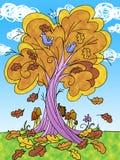 Träd i hösttecknad filmillustration Royaltyfri Foto