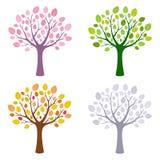 Träd i säsong fyra stock illustrationer