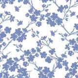 Träd i sömlös modell för blomning royaltyfri illustrationer